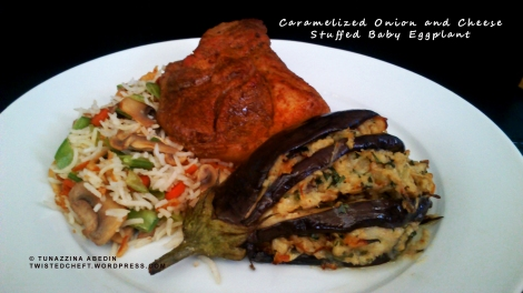 Caramelized Onion and Cheese Stuffed Baby Eggplant
