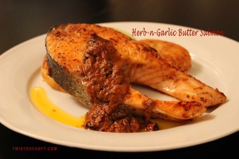 Herb Garlic Pan Fried Salmon Steak