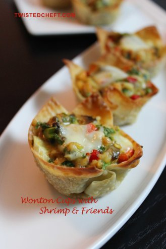 Wonton Cups with Shrimp and Vegetable with Cheese