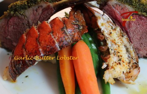 Garlic Butter Baked Lobster - Surf-n-Turf Dinner