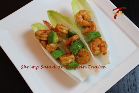 Healthy Shrimp Avocado Salad on Belgian Endive