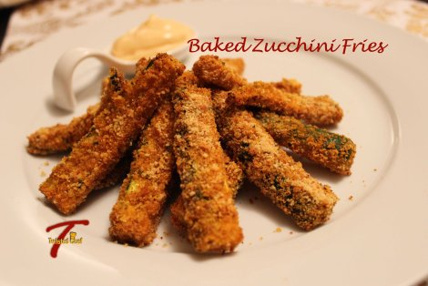 Baked Zucchini (Courgette) Fries whole plate