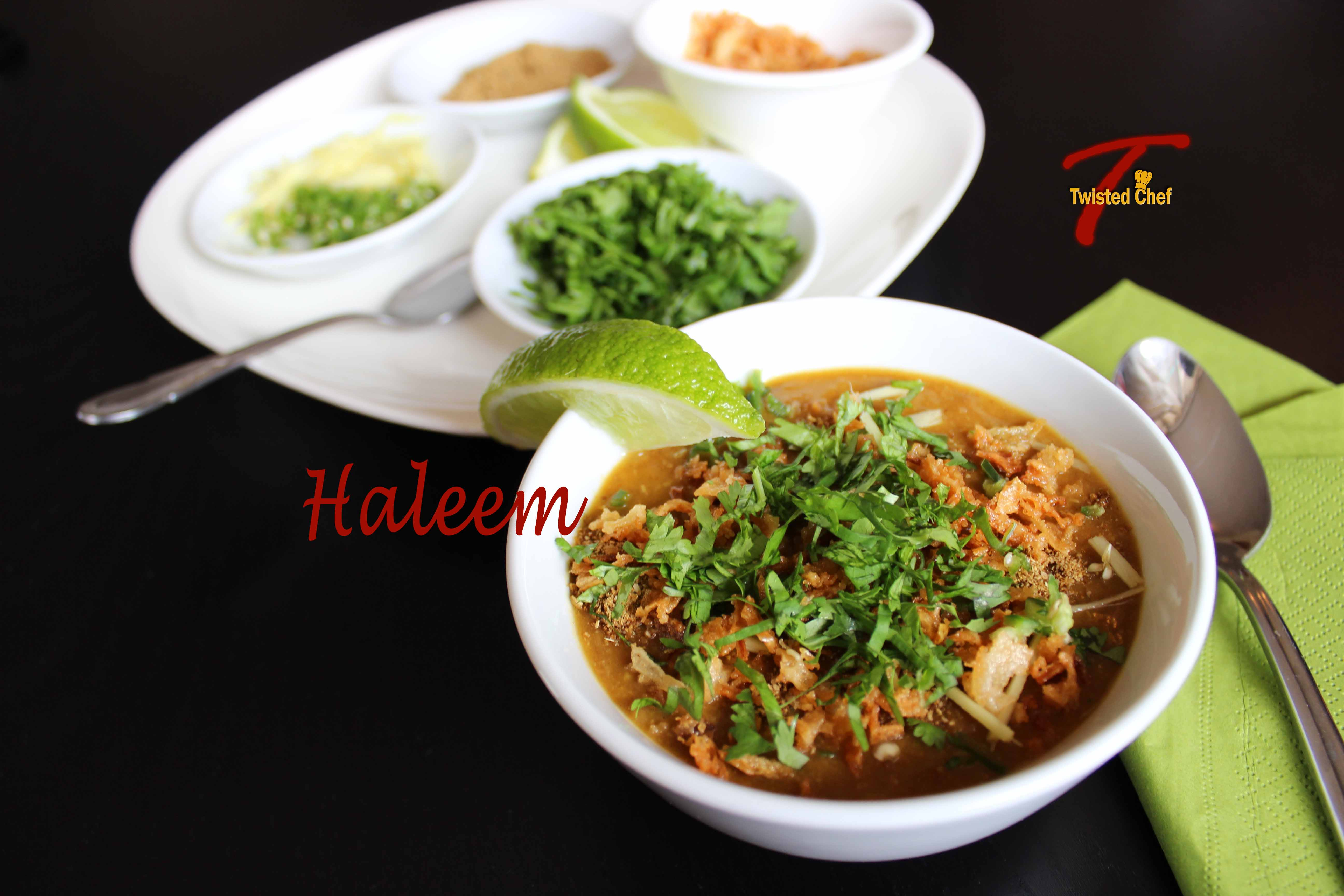Slow cooker haleem a traditional mixed lentil and meat soup halim with condiments forumfinder Gallery