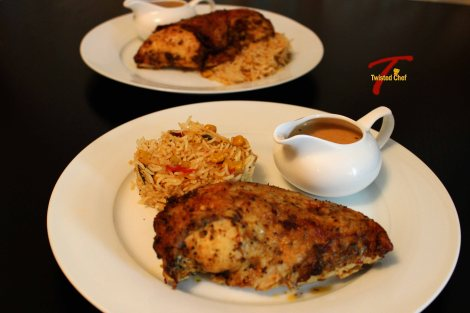 Cajun Rice with Baked Chicken and Gravy