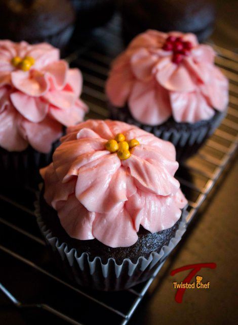 Chocolate Cupcake With Swiss Buttercream Pink Flower