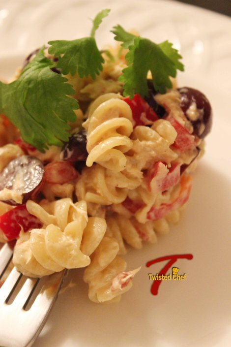 Tuna Grape Pasta Salad Close-up
