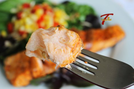 Pan Fried Salmon on Fork