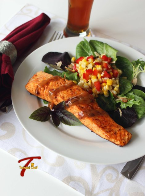 Pan Fried Salmon with Corn Salsa and drink
